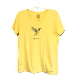 Life is Good humming bird print tee